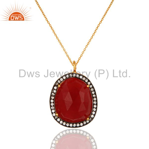 Faceted Red Aventurine Pendant With CZ Made In 24K Gold Over Brass