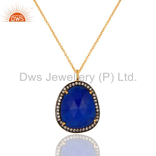14K Yellow Gold Plated White Zircon & Blue Aventurine Gemstone Pendant Necklace