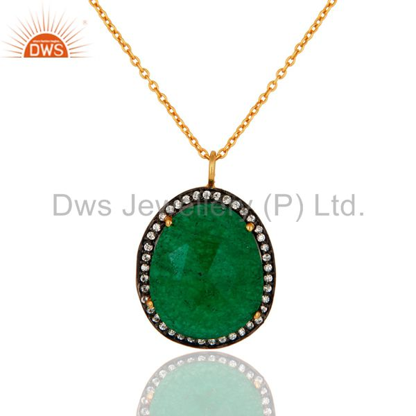 22K Yellow Gold Plated Green Aventurine and Cubic Zirconia Pendant With Chain