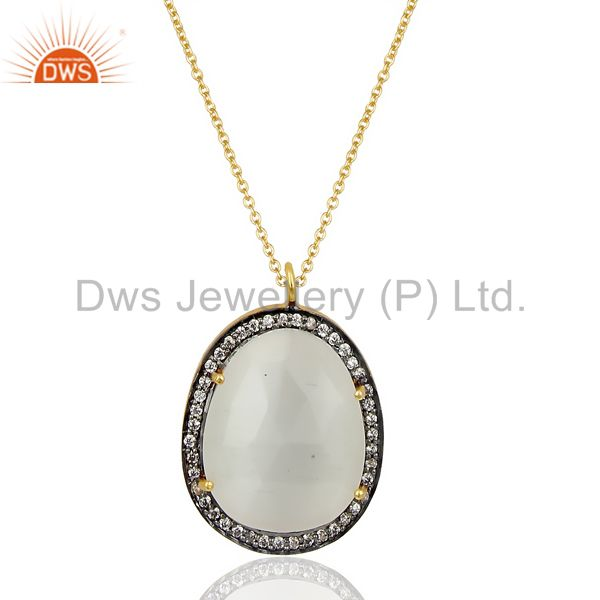 14k gold plated 925 sterling silver white moonstone white zircon chain pendants