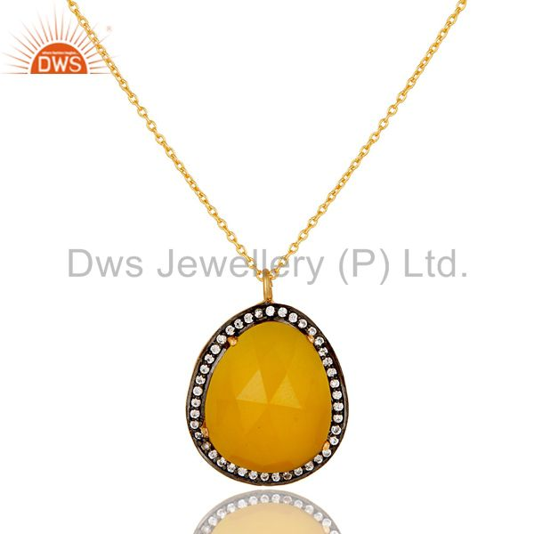 22k gold plated sterling silver yellow moonstone & white zirconia chain pendant