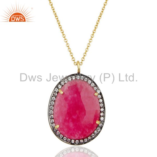 22K Gold Plated Sterling Silver Red Aventurine & White Zirconia Chain Pendant