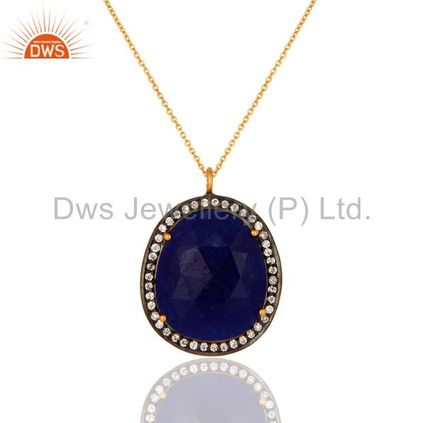 Blue aventurine gemstone prong set pendant with cz in 14k gold over 925 silver