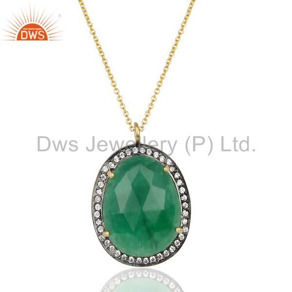 14K Gold Plated 925 Sterling Silver Green Aventurine White Zircon Chain Pendant