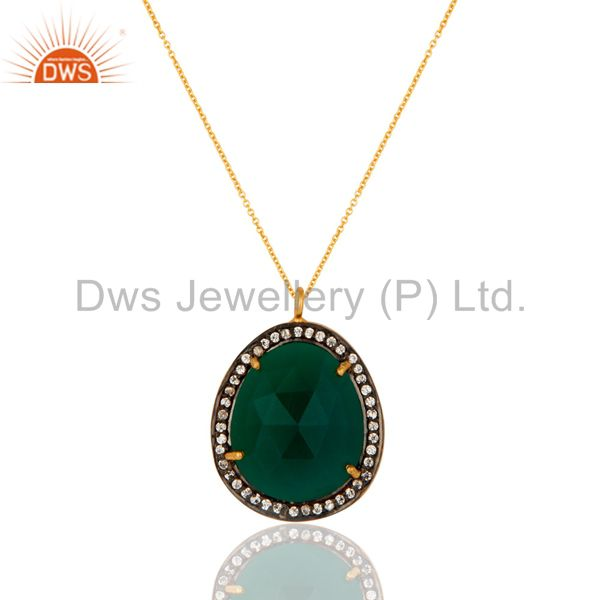 Faceted Green Onyx Gemstone Pendant - Gold Plated Sterling Silver CZ Jewelry