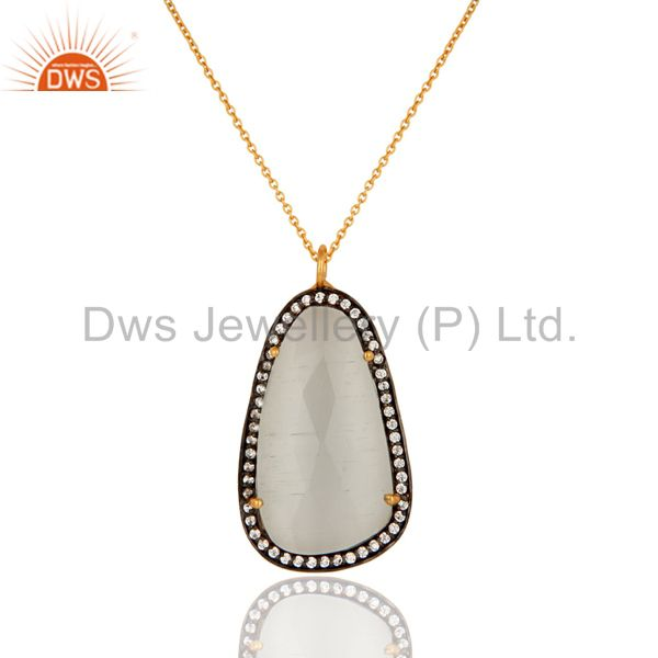 18K Yellow Gold Plated White Moonstone And CZ Fashion Pendant With Chain