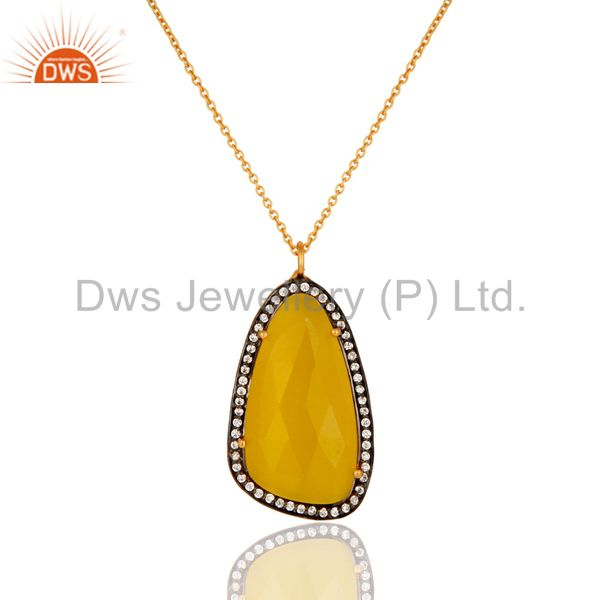 18k Yellow Gold Plated Brass Fashion Pendant With Yellow Moonstone & CZ