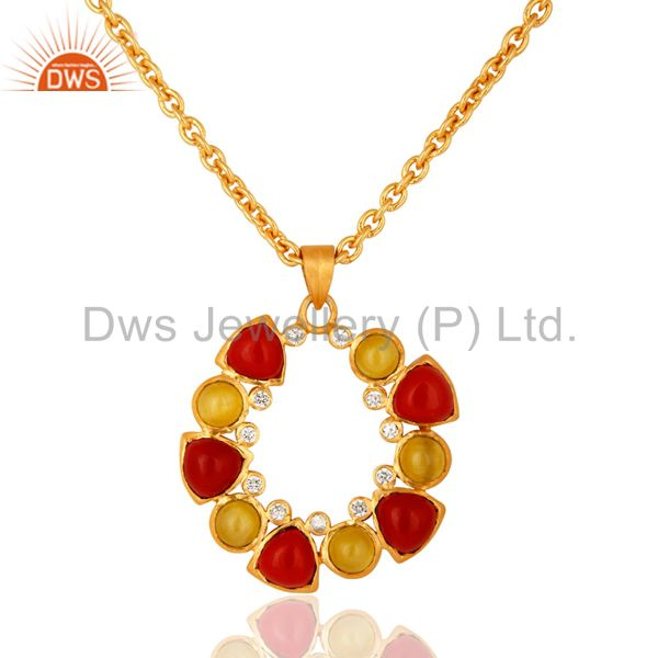 Handmade Yellow Moonstone And Coral Gemstone Pendant Necklace - 14K Gold Plated