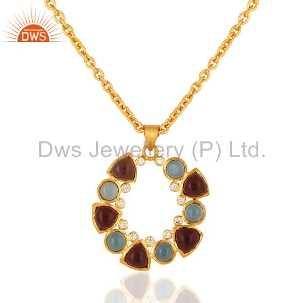 Designer hydro amethyst & chalcedony gemstone pendant with chain - gold plated