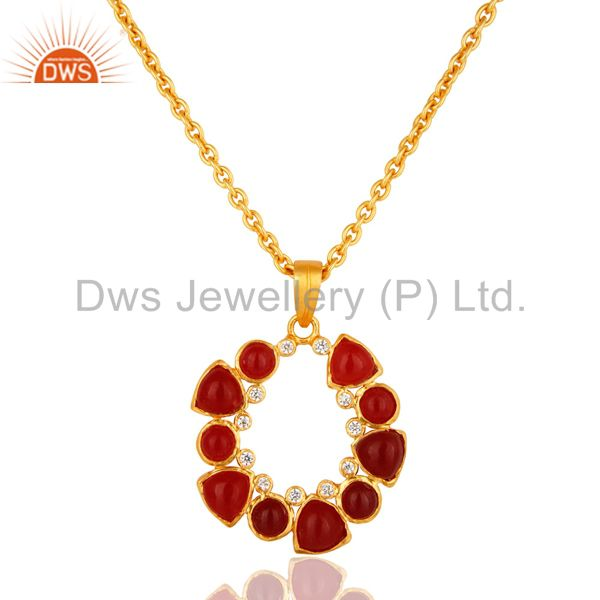 "Handmade Red Aventurine And CZ Gold Plated Pendant With 16"" Inch Chain"