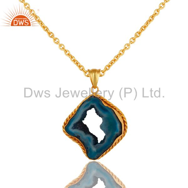 18K Yellow Gold Plated Handmade Druzy Aagte Slice Pendant Necklace