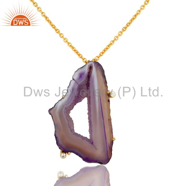 Purple Druzy Agate Yellow Gold Plated Pendant Chain Necklace With Lobster Lock