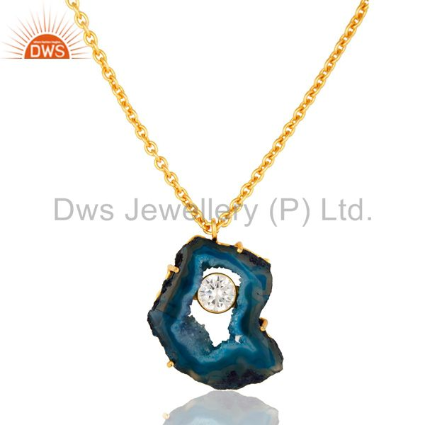 Natural Blue Druzy Agate And CZ 18K Gold Plated Pendant With Chain