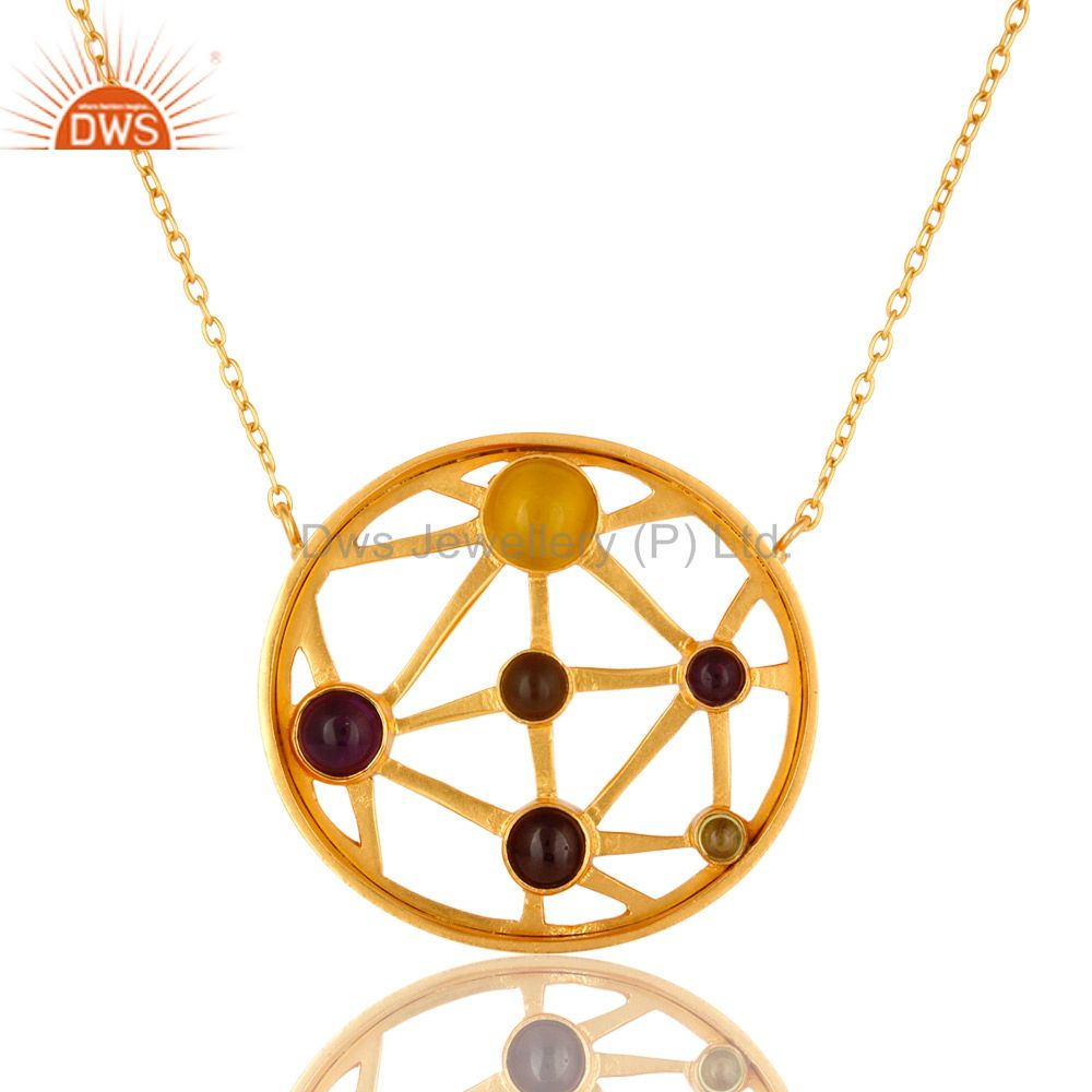 24K Gold Plated Sterling Silver Multi Colored Gemstone Circle Pendant Necklace