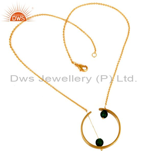18K Gold Plated Traditional Handmade Green Onyx Faceted Chain Brass Pendant