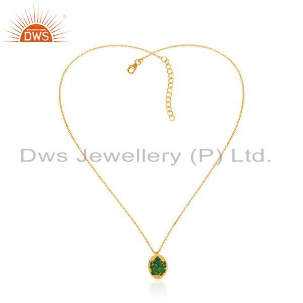 Designer ganesha necklace in yellow gold on silver and green enamel