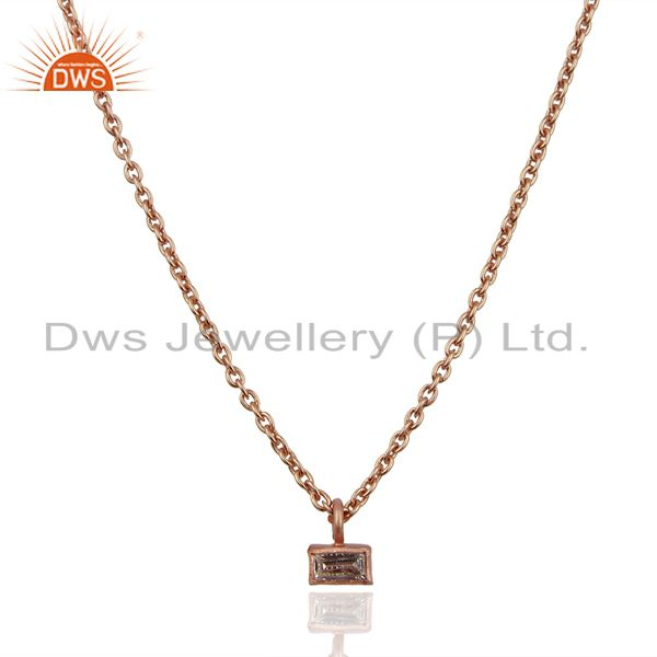 White Zircon Baguette Rose Gold Plated Brass Jewellery Chain Pendant Necklace