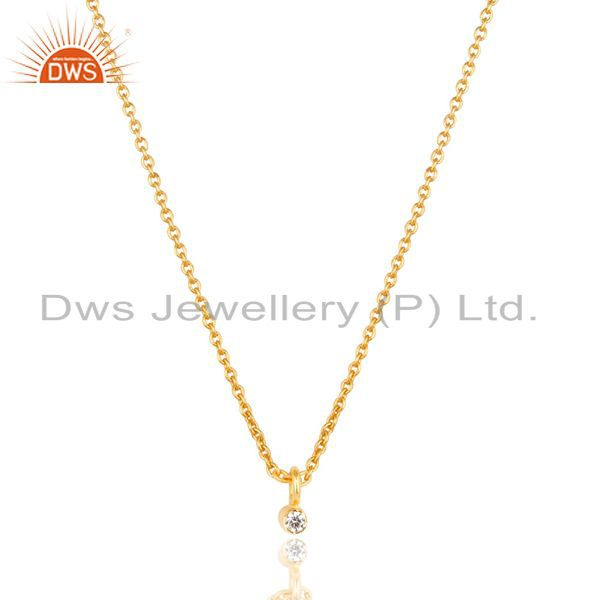 14K Gold Plated Traditional White Zirconia Design Brass Chain Pendant Necklace