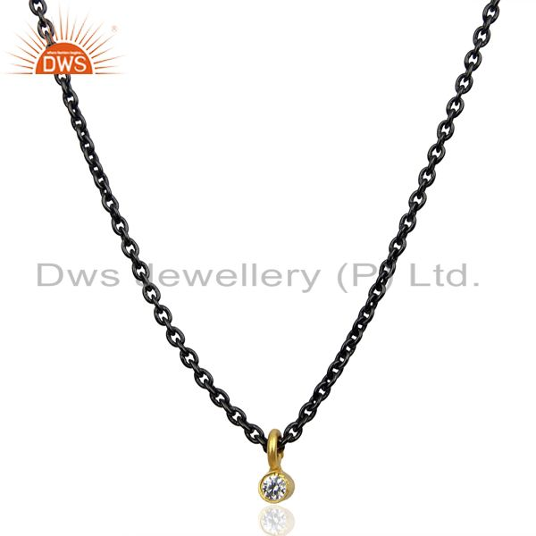 White Zircon 14K Yellow Gold Plated Chain Pendant Necklace Fashion Jewelry