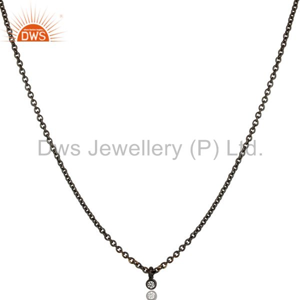 Black Oxidized Traditional White Zirconia Design Brass Chain Pendant Necklace