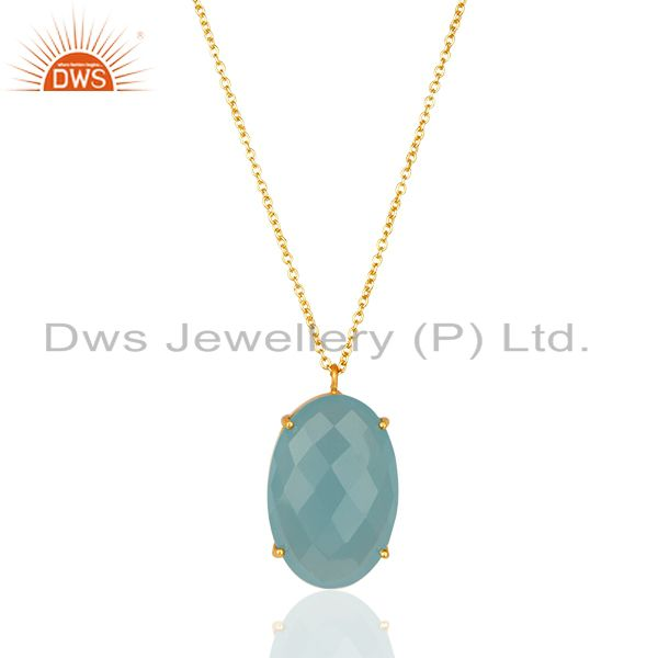 14K Gold Plated Handmade Dyed Aqua Chalcedony Prong Set Chain Pendant