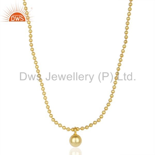 Hancrafted Ball Chain Small Round Beads Gold Plated Fashion Pendent