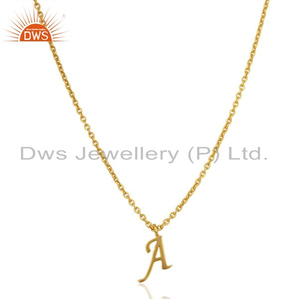 Gold Plated A Initial Simple Chain Wholesale Fashion Pendent Jewelry