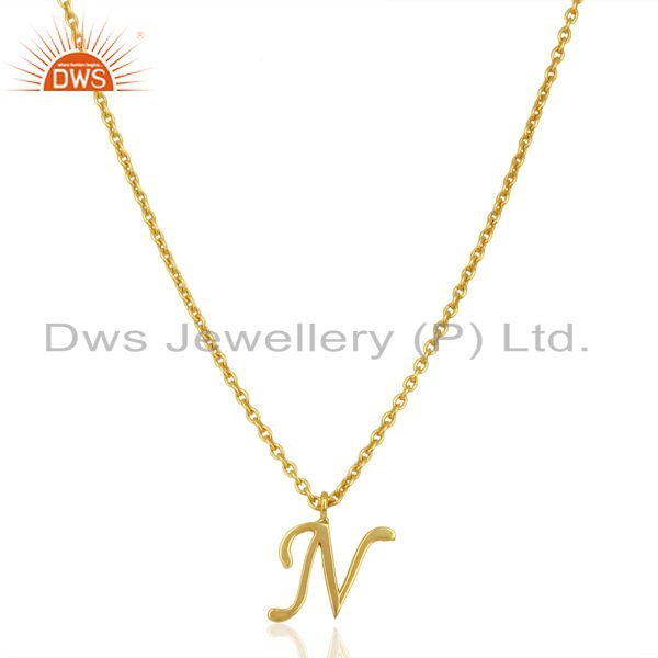 Gold Plated N Initial Simple Chain Wholesale Fashion Pendent Jewelry