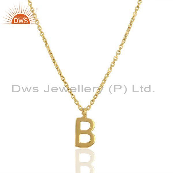 Gold Plated B Initial Simple Chain Wholesale Fashion Pendent Jewelry