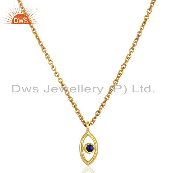 Handmade Gold Plated Lapis Gemstone Fashion Pendnat Supplier