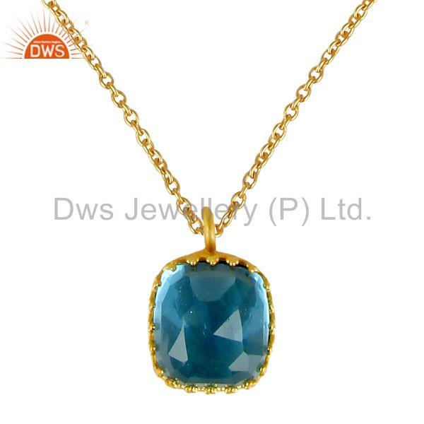 Beautiful Blue Topaz Glass 24K Yellow Gold Plated Pendant Chain Necklace