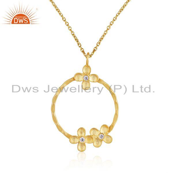 Handamde Floral Yellow Gold Plated Brass Chain Pendant Fashion Jewelry