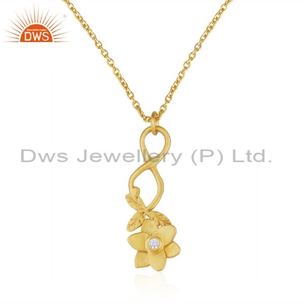 Yellow Gold Plated Flower Brass Fashion White Zircon Chain Pendant Wholesale