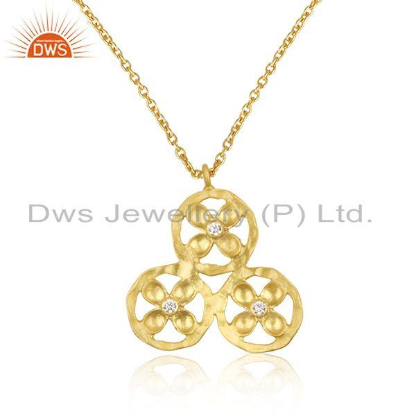 Handmade Flower Design White Zircon Fashion Chain Pendant Manufacturer India