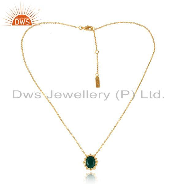 Green Onyx Gemstone Designer Gold Plated Brass Fashion Necklace