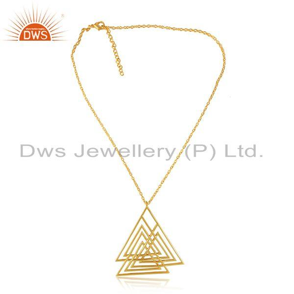 Geometric Dainty Designer Pendant with Yellow Gold Plating