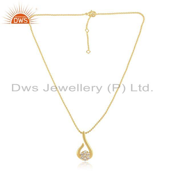 Designer Dainty Fashion Necklace with  Yellow Gold On And Cz