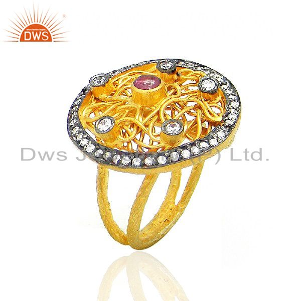 22K Yellow Gold Plated Brass Pink Tourmaline And CZ Designer Cocktail Ring