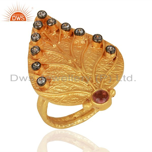 22K Yellow Gold Plated Pink Tourmaline And CZ Leaf Designer Statement Ring