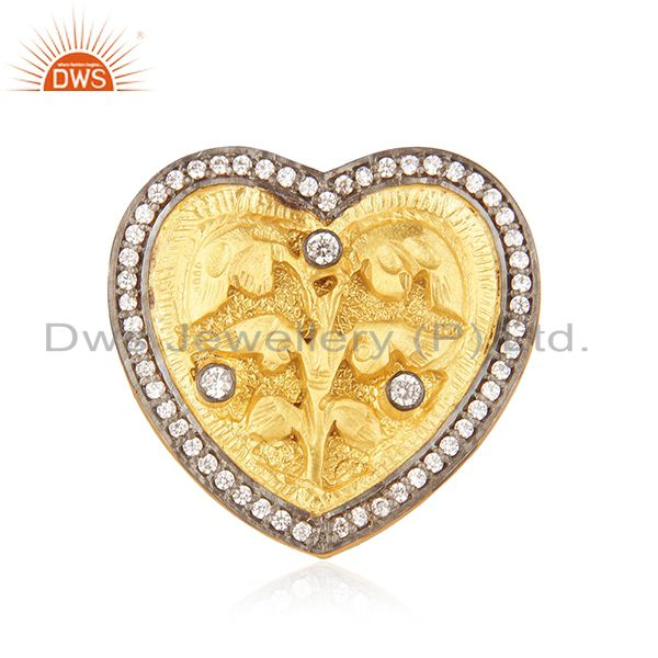 22K Yellow Gold Plated White Cubic Zirconia Heart Cocktail Stackable Ring