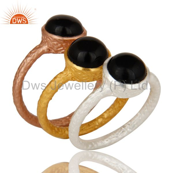 18K Gold Plated Black Onyx Gemstone Hammered Band Three Piece Ring Set