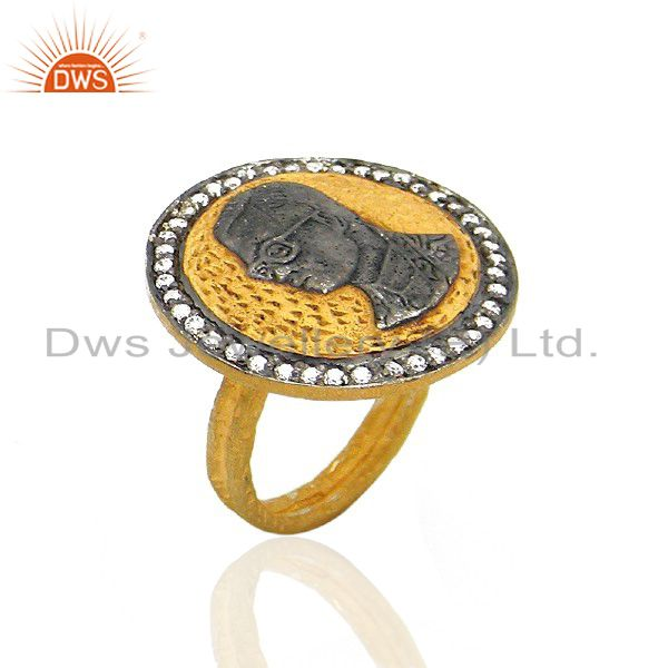 22K Yellow Gold Plated Brass Hammered Stack Cocktail Ring With CZ