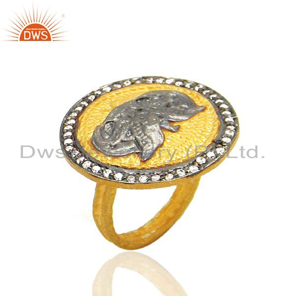 22K Yellow Gold Plated Brass Hammered Stack Cocktail Ring With Cubic Zirconia