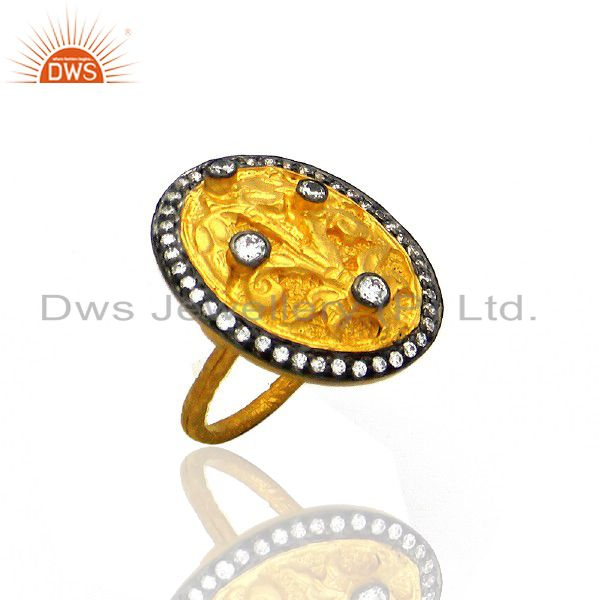 18K Yellow Gold Plated Brass Cubic Zirconia Womens Cocktail Fashion Ring