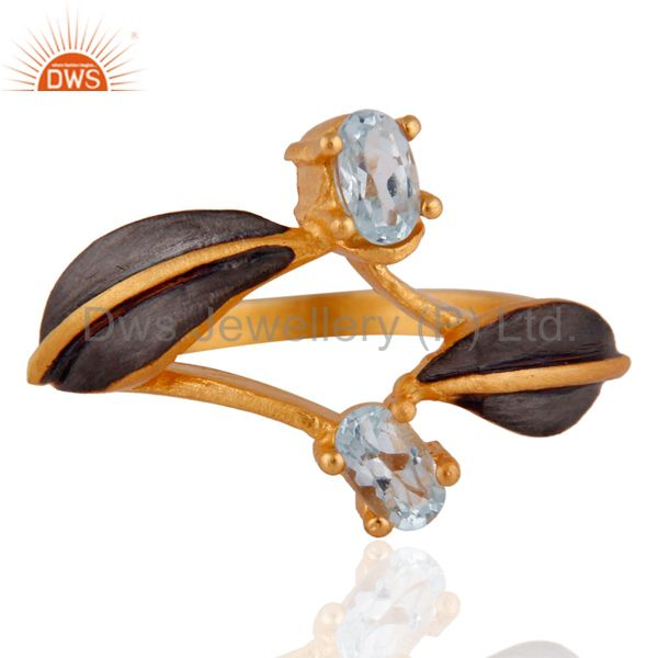Latest Indian Designer 22K Yellow Gold Plated Blue Topaz Gemstone Ring Jewelry