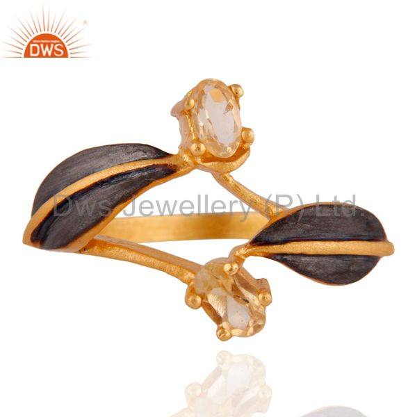 New Indian Artisan Designer Natural Citrine Gemstone 18k Yellow Gold Plated Ring