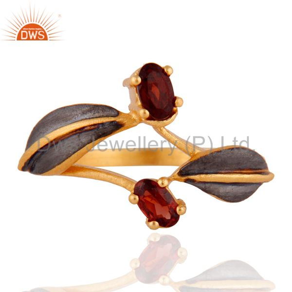 Natural Garnet Gemstone 18K Yellow Gold Over Brass Fashion Ring Jewelry