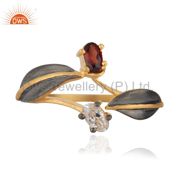 Dazzling Red Glass Gemstones And CZ 18k Gold Over Brass Fashion Ring