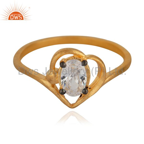 Handmade Ladies White Gleaming Cubic Zircon 18K Yellow Gold Plated Fashion Ring