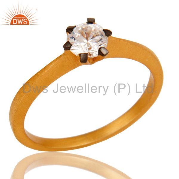 18K Yellow Gold Plated White Cubic Zirconia Solitaire Womens Engagement Ring